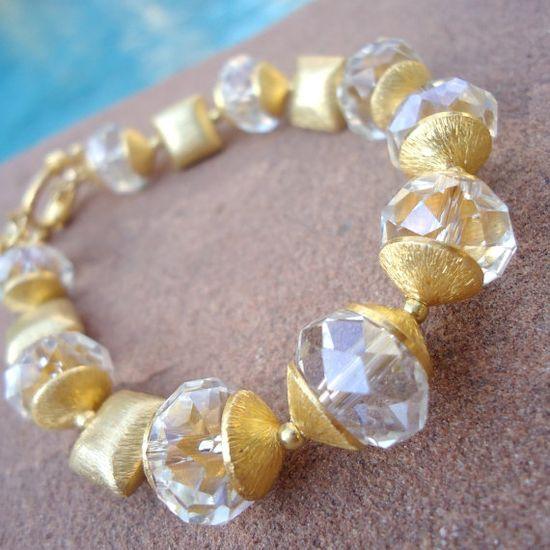 Crystal Bracelet Wedding Jewelry Quatrefoil by jewelrybycarmal, $85.00