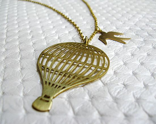 Hot Air Balloon Necklace - Brass Handmade Jewelry