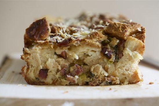 Pancetta, Leek and Apple Challah Bread Pudding