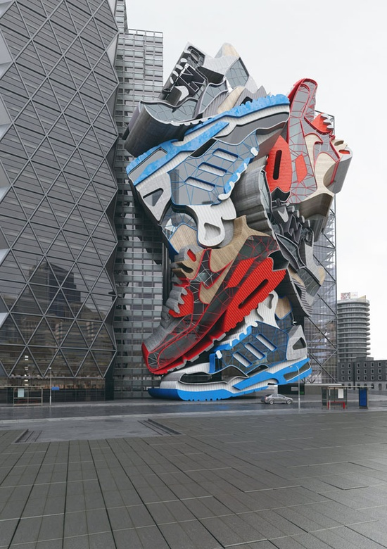 """Sneaker Tectonics"" by UK-based artist Chris Labrooy is a monumental-scale sculpture of enormous stacked sneakers that is actually an incredibly convincing 3D graphic."