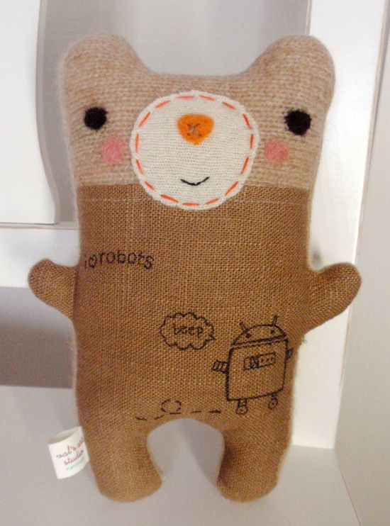 Tattooed Robot Lover Friendly - Stuffed Plush Needle Felted and Embroidered Art Friend