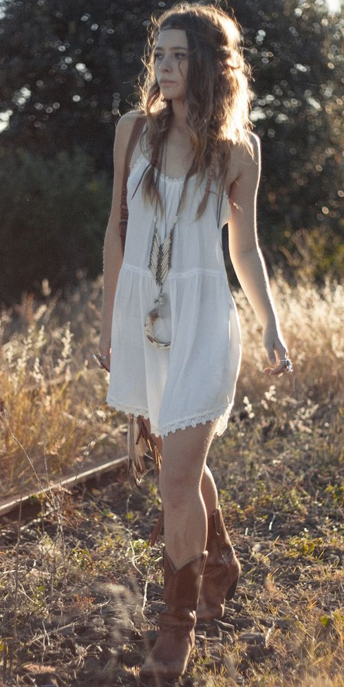 cowboy boots with white dress. summer must.