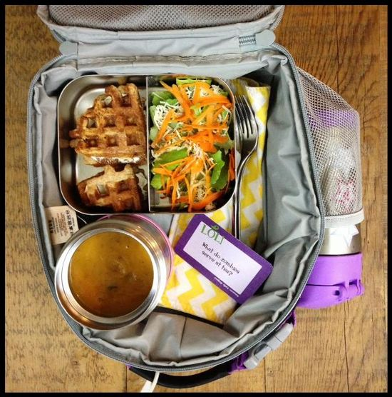 his is what my 1st grader got for lunch today:- Slow cooker sweet potato and apple soup- Salad with parmesan cheese, carrots and homemade vinaigrette- Whole wheat waffle and cream cheese sandwiches- Water#schoollunch #healthylunch #lunch #100daysofrealfood