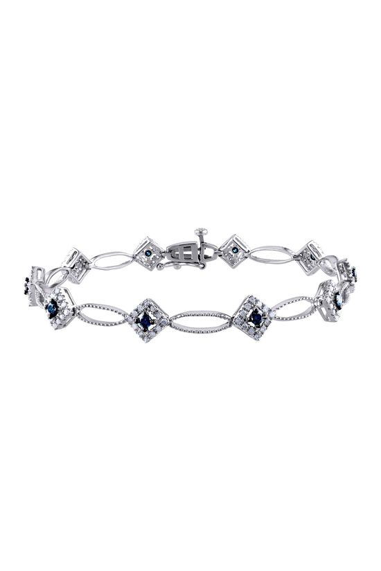 Two-Tone Blue & White Diamond Square & Marquise Link Bracelet - 1.00 ctw