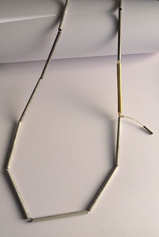 Christophe Burger - Necklace  Patinated Brass / Japanese Paper /  Tennis Racquet Nylon String / Silver /  Fine Gold / Heatshrink Tubing /  Stainless Steel Cable
