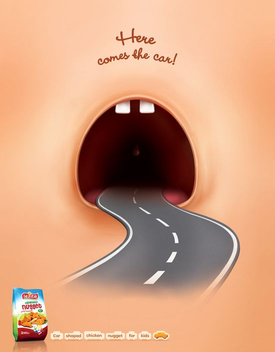 Lezita: Car     Here comes the car!     Car shaped chicken nugget for kids.  Advertising Agency: McCann ?stanbul, ?stanbul, Turkey #advertising #media #advertisement #marketing #poster #print #campaign #creative #creativity #ad #ads #chicken #nugget #car #child #children #turkey