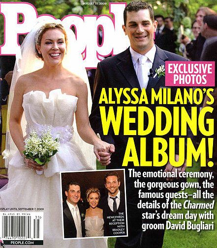 Alyssa Milano and her lovely Lily of the Valley arrangement. – Celebrity Wedding Bouquets