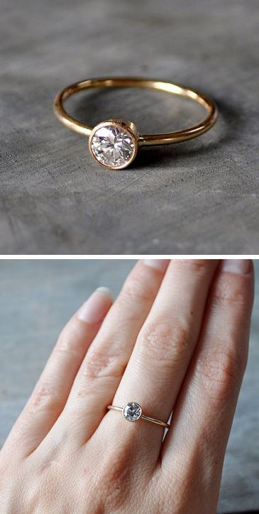 Moissanite diamond engagement ring --> exactly what I want! Simple elegance!