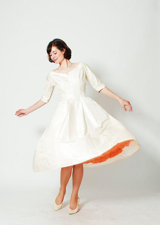Vintage 1960s Wedding Dress  50s Silk Wedding by concettascloset, $398.00