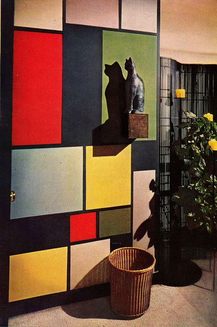 Mondrian-esque wall, DIY the Mid Century Modern style. 1956 edition, Better Homes & Gardens Decorating Book