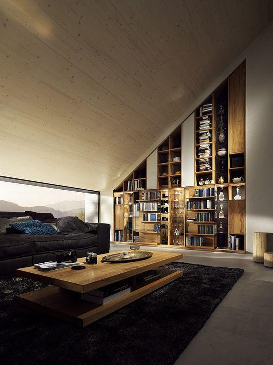 ? Contemporary and masculine living room design. Nice wall shelf.