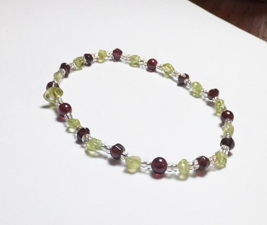 Garnet and Peridot Beadwork Stretch Bracelet by tzteja on Etsy, $15.00  #bracelet, #beaded, #garnet, #peridot, #gemstone, #stretch, #handmade