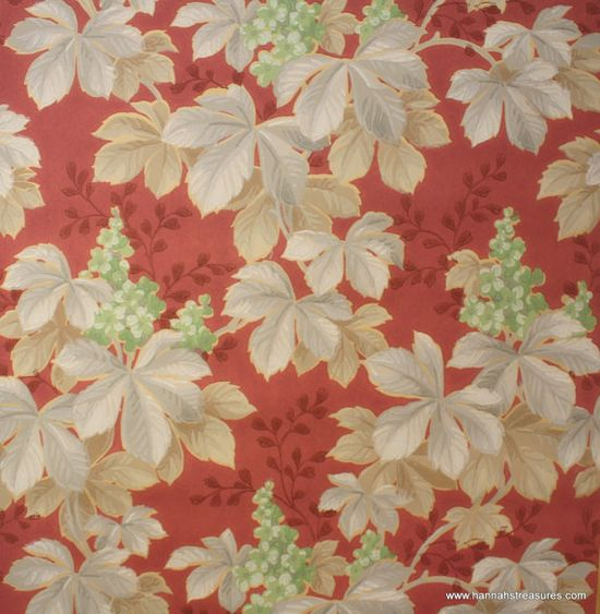 1940's Vintage Wallpaper Gray leaves with ? by HannahsTreasures, $14.00