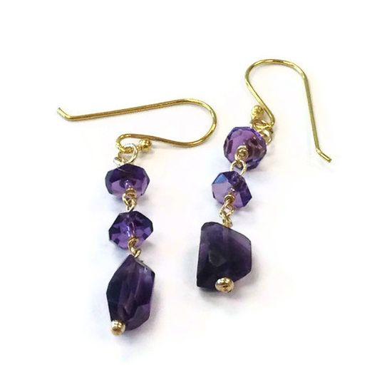 Amethyst Earrings  Purple  Gold Filled  by jewelrybycarmal on Etsy, $35.00