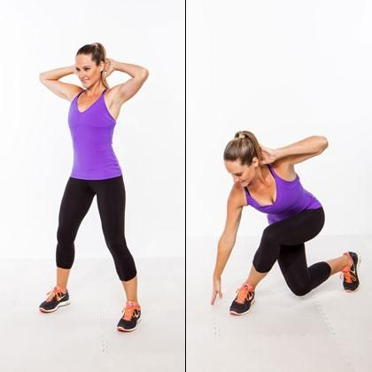 Side-Stepping Curtsey  Targets thighs, hips, glutes, & core