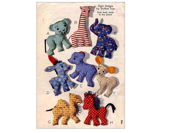 Vintage 1940s Sweet Soft Animal Toys Easy by allsfairyvintage, $7.00