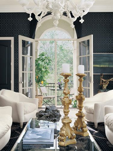 living rooms - trellis wallpaper chandelier glam mirrored table chairs  High Contrast Drama.  Black KW Trellis Wallpaper, French Mirrored Coffee