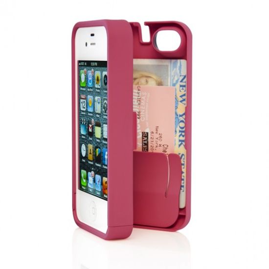 Eyn case for iPhone: all-in-one protective phone case with storage compartment gives you the freedom and convenience to walk around with just your phone and a few necessities--credit cards, cash and i.d.--all in one place. The case comes with a wristlet and a mirror inside for quick touch-ups.