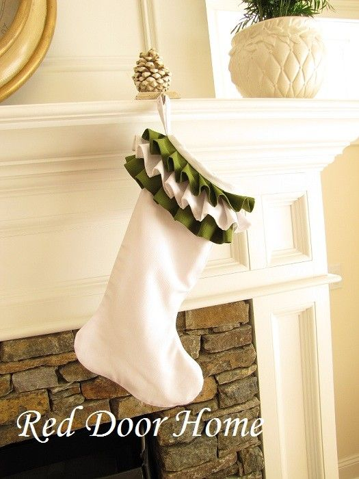 Ruffle Top Linen Christmas Stocking White and by RedDoorHome