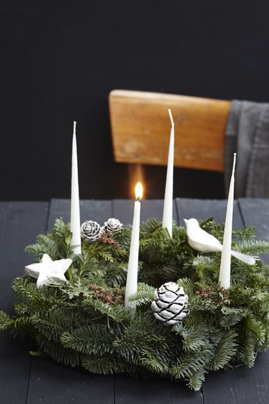 Used to use these as a kid for Christmas in Germany! Start lighting first candle four Sundays before Christmas. Then add a candle each week and light last one on Christmas Eve.  advent