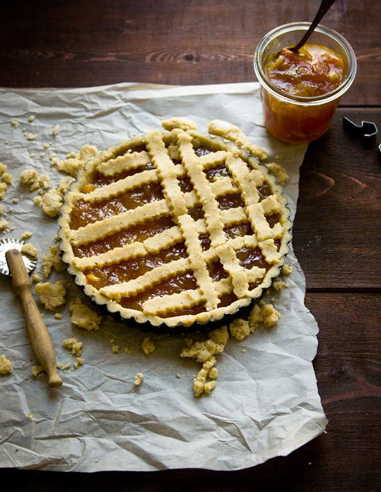 almond and citrus marmalade crostata