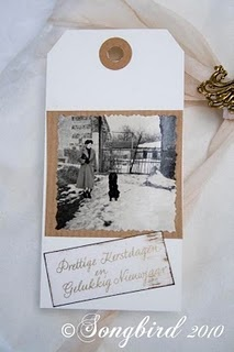 Love the custom, homemade tag with vintage flare