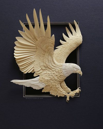 3D Paper Sculptures - Paper Sculpture, Calvin Nicholls, creates these intricate, 3D pieces by layering paper cut with scalpels and x-acto knives. The different pieces are later assembled with a toothpick and some glue.