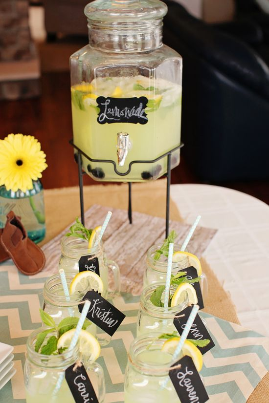 Homemade lemonade and name tags wrapped in twine on all the mason jars!