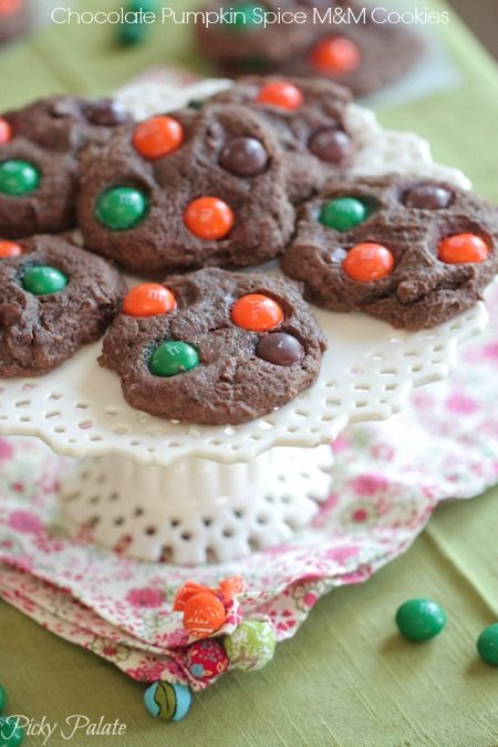 Chocolate Pumpkin Spice M and M Cookies.  Love this time of year!
