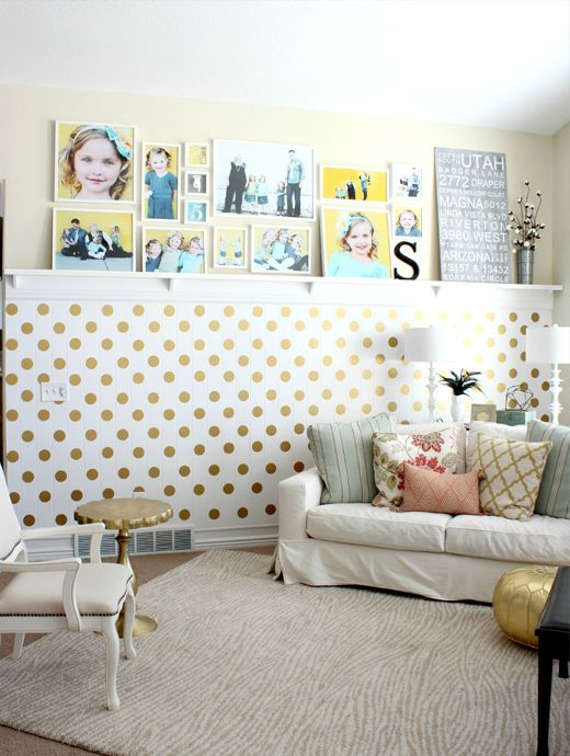Buy a 40ct sheet of 3 inch Polka Dots for your wall! Looks like wallpaper, but costs less and takes hardly any time at all to apply, with no wall damage when ready to remove. #houseofsmiths #polkadotwall #goldpolkadots #houseofsmithsdesigns