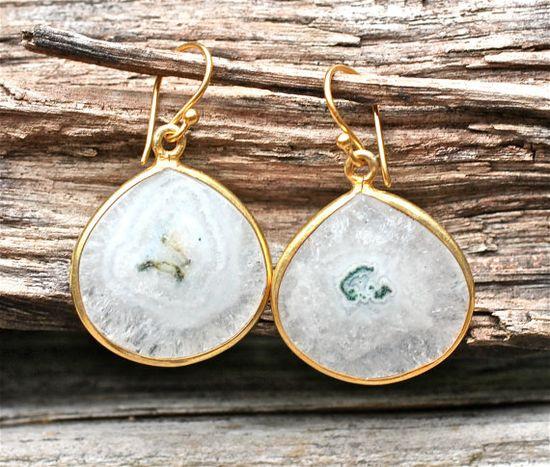 Solar Quartz Earrings White Starburst Gold Teardrop by amyfine