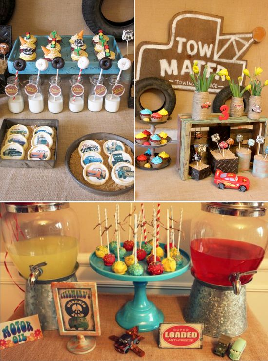 Vintage CARS Radiator Springs themed Birthday Party via Karas Party Ideas #cars #themed #birthday #party #cake #radiator #springs #towmater #ideas