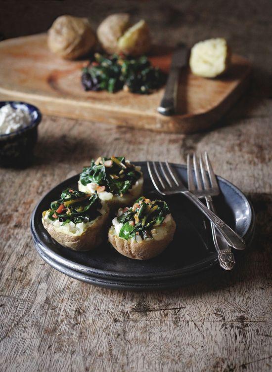 // Baked Potatoes with Ricotta, Swiss Chard, Toasted Garlic