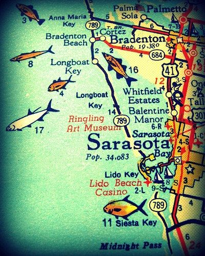 SARASOTA / SIESTA KEY 1960s Florida map art