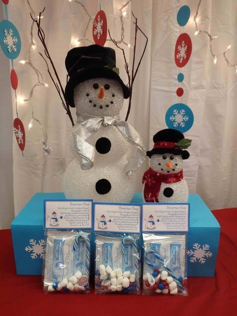 Cute snowman decorations at a Winter Wonderland Party.   See more party ideas at CatchMyParty.com.  #winterwonderlandpartyideas