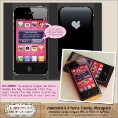 Too cute! Candy bar wrappers that look like an iPhone!