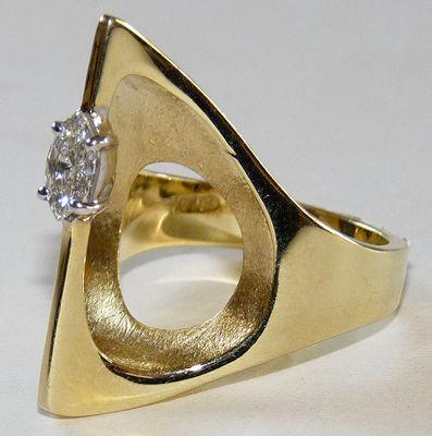 circa 1970s Modernist 14k Gold Diamond cocktail ring, unknown designer