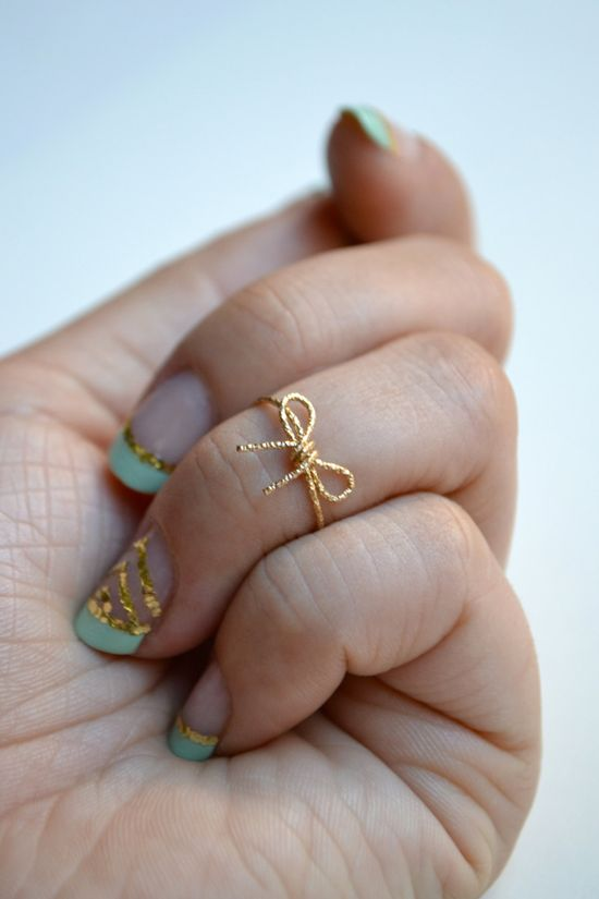 Love the polish too! Bow Knuckle Ring. $28.00, via Etsy.