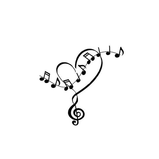 Heart And Music Notes Tattoo  Cute Tattoocom