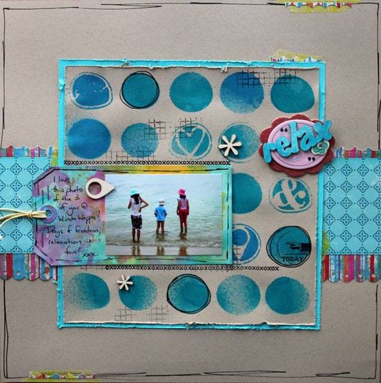 #papercraft #Scrapbook #layout    stencil, tag, strips, 1 pic