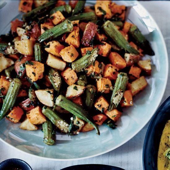 Roasted Sweet Potato & Okra Salad // More Sweet Potato Recipes: www.foodandwine.c... #foodandwine