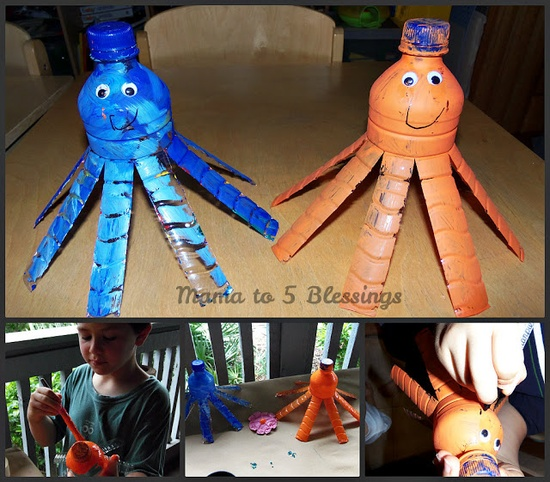 Mama to 5 Blessings - Our Homeschool Blog: WATER BOTTLE CRAFTS --- LEARN & LINK WITH LINKY