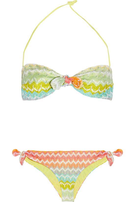 MISSONI  Calais crochet-knit bandeau bikini