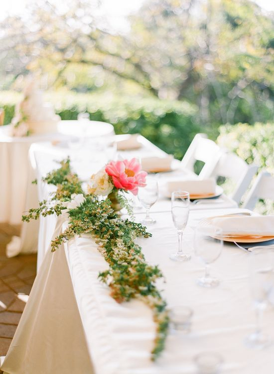 Pretty moss table runner. Photo by Ciara Richardson Photography. www.wedsociety.com #wedding #idea