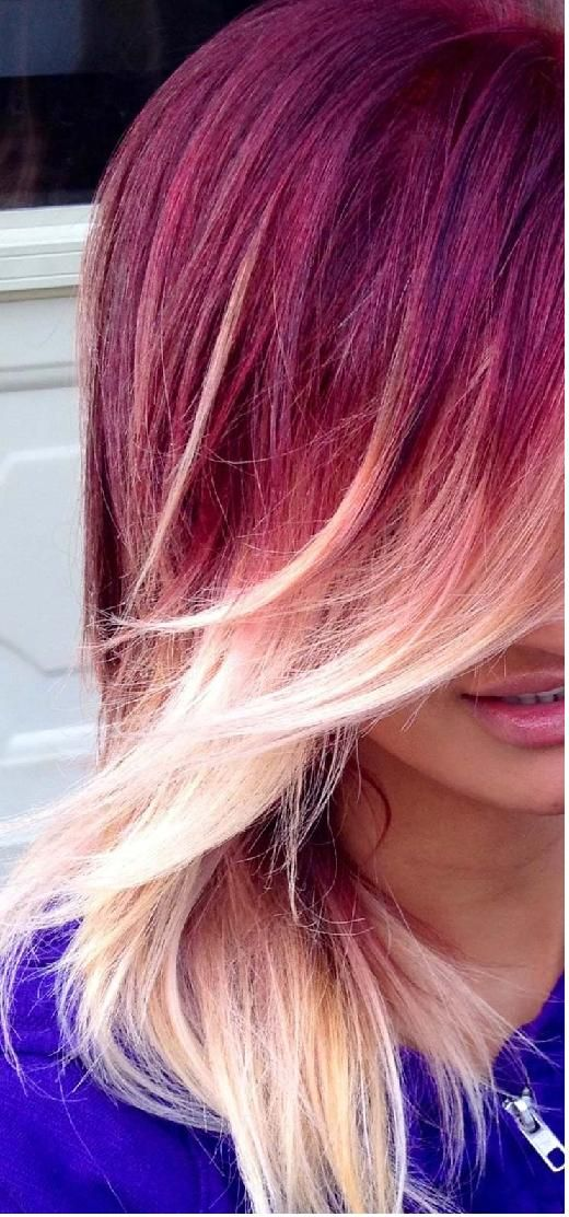 red to blonde ombré hair with side bang