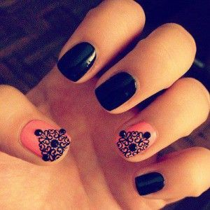 Nail art - black and pink with lace artwork and rhinestones