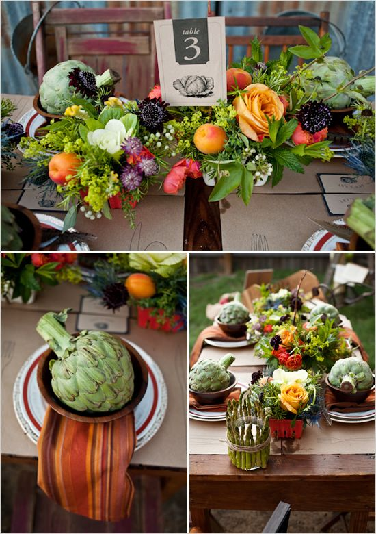 Farm to table inspired tablescape. All veggies/fruit! We + You Designs.