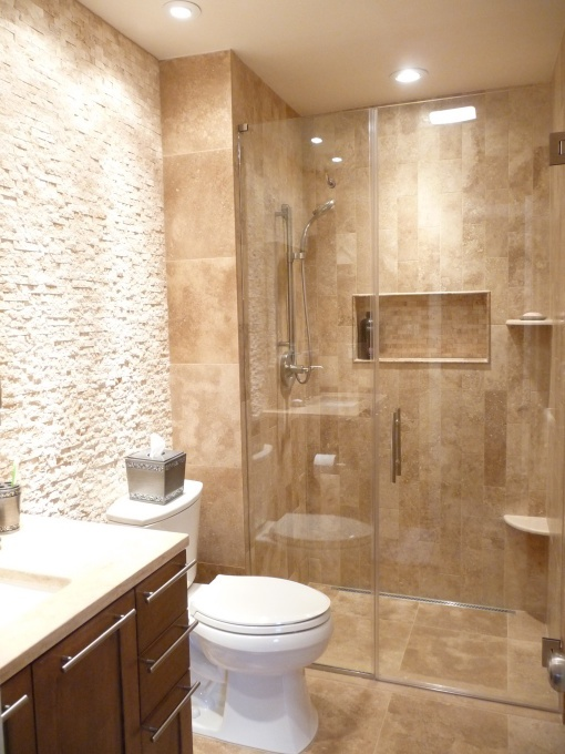 Inspiration for our master bathroom - love the shower and built in shelf