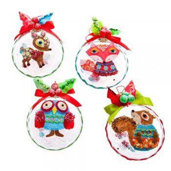 Gisela Graham Christmas Retro Woodland Animal Applique Disc Christmas Decorations
