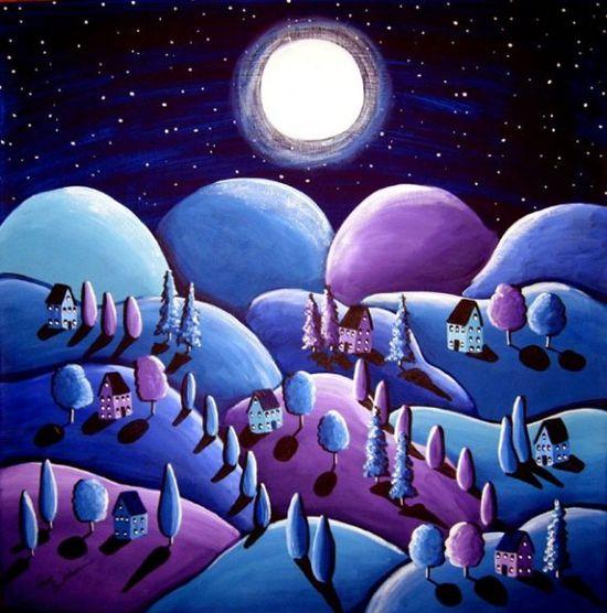 Blue Peace on Earth Landscape Folk Art by reniebritenbucher